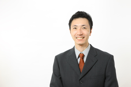 Japanese businessman smiles